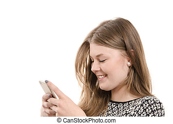 Happy teenager with a mobile phone