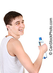 Teenager with Bottle of Water - Happy Teenager with Bottle...