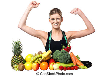 Happy teenager with fruits and vegetables - Excited pretty...