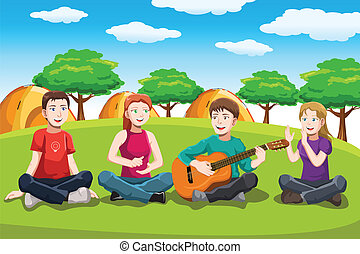 A vector illustration of teens playing music in the park