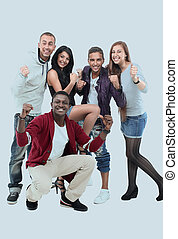 Happy teenagers having good fun time isolated on white backgroun