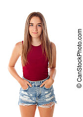 Happy teenger girl with fifteen years old