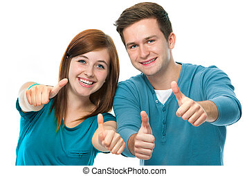 thumbs up - happy teens showing thumbs up