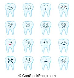 Happy teeth set. Cute tooth characters. Dental personage vector illustration. Children dentistry.