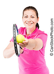 happy tennis player ready to hit the ball with a racket on a white background