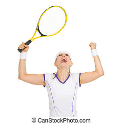 Happy tennis player rejoicing in success