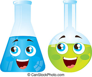 happy test tubes cartoons isolated over white background vector