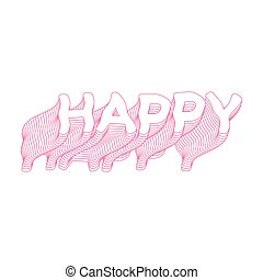 Happy text icon pink word isolated illustration