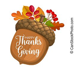 Happy Thanks Giving day vector poster with acorn