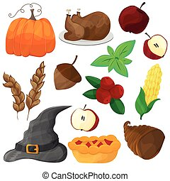 Happy Thanksgiving and halloween cartoon character and objects