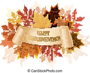 Happy Thanksgiving autumn background. Vector.