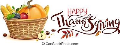 Happy Thanksgiving autumn harvest Festival. Full basket of vegetables