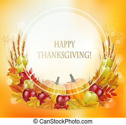 Happy Thanksgiving background with autumn vegetables and fruit. Vector.