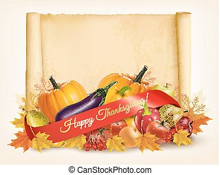 Happy Thanksgiving background with autumn vegetables and old paper. Vector.