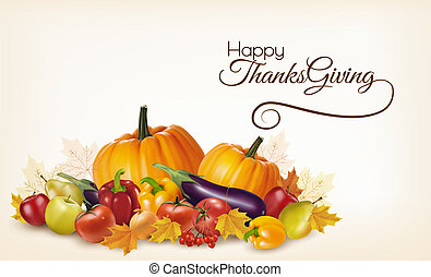 Happy Thanksgiving background with colorful autumn leaves and fruits and vegetables. Vector.