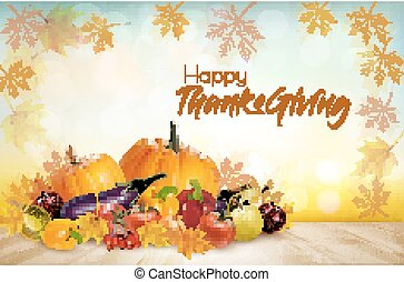 Happy Thanksgiving Background with colorful fruit and vegetables. Vector.