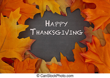 Happy Thanksgiving Background with Fall Leaf Boarder