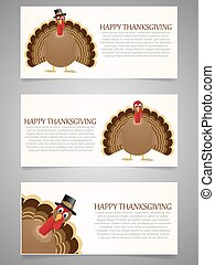 Happy Thanksgiving banner set with turkey.