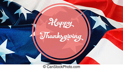 Happy Thanksgiving banner, US flag background
