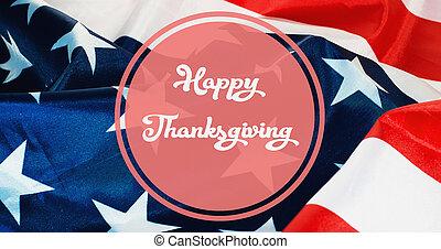 Happy Thanksgiving banner, US flag background