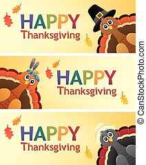 Happy Thanksgiving banners 1 - eps10 vector illustration.