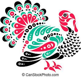 Happy Thanksgiving beautiful turkey tattoo, symbol decoration illustration
