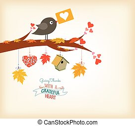 Happy Thanksgiving birds and maple leaves
