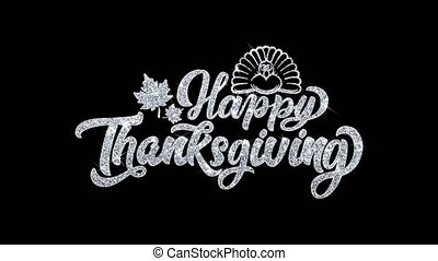 Happy ThanksGiving Blinking Text Wishes Particles Greetings,...