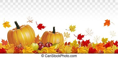 Happy Thanksgiving card with autumn vegetables and fruit on ...
