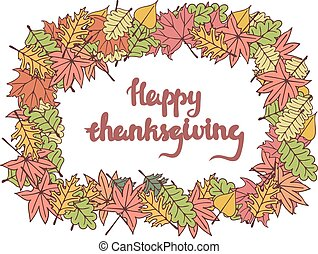 Happy thanksgiving card with lettering.