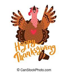 Happy Thanksgiving card with turkey. Cartoon Character Turkey
