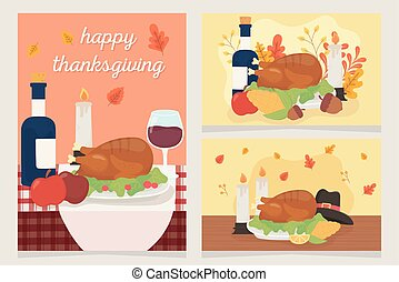 happy thanksgiving celebration cards dinner turkey wine fruits candles