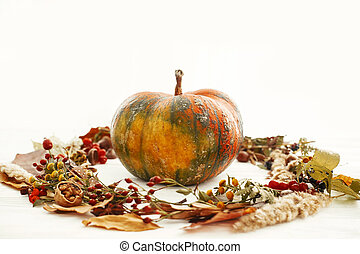 Happy Thanksgiving concept. Pumpkin in autumn leaves wreath, berries, nuts, acorns, flowers, herbs on white background, isolated. Seasons greetings. Space for text