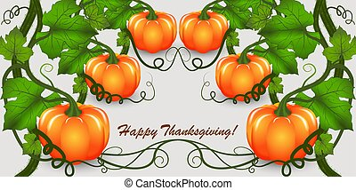 Happy Thanksgiving congratulatory background or banner template with pumpkins green leaves. For fall season flyers, presentations, web and leaflet, poster. Perspective view.