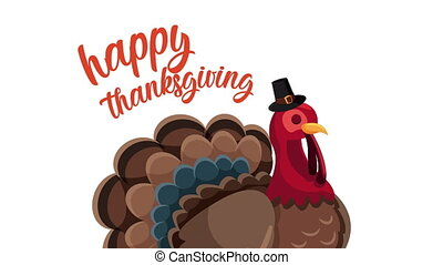 happy thanksgiving day animation lettering with turkey