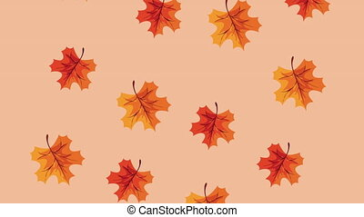 happy thanksgiving day animation with maple leafs pattern ,4k video animated
