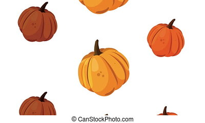 happy thanksgiving day animation with pumpkins pattern
