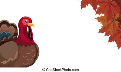 happy thanksgiving day animation with turkey