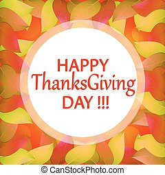 Happy Thanksgiving day. Autumn background with yellow leaves. Stock vector illustration.