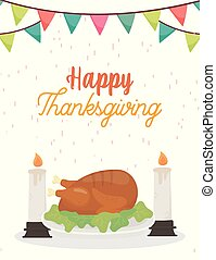 happy thanksgiving day baked turkey and candles celebration