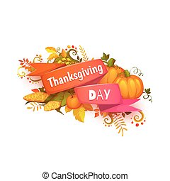 Happy thanksgiving day banner with ribbon and pumpkin.