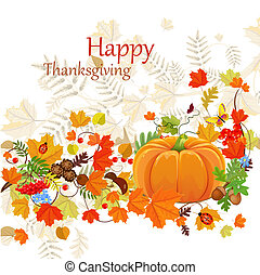 Happy Thanksgiving Day celebration flyer, background with autumn leaves