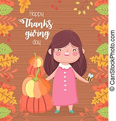 happy thanksgiving day cute girl with pumpkins fall leaves wooden background