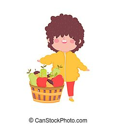 happy thanksgiving day cute little boy with basket fruits