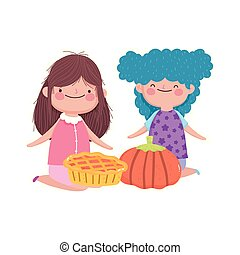 happy thanksgiving day cute little girls with pumpkin and sweet pie