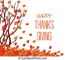 Happy Thanksgiving Day. Fall Leaves Background