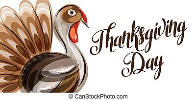 Happy Thanksgiving Day greeting card with abstract turkey