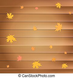 Happy thanksgiving day greeting card with falling yellow maple leaves on wooden planks background