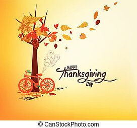 Happy Thanksgiving Day. Hand drawn tintage bicycle with autumn leaves