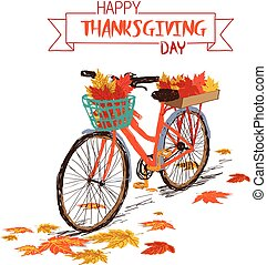 Happy Thanksgiving Day. Hand drawn tintage bicycle with autumn leaves in rear basket